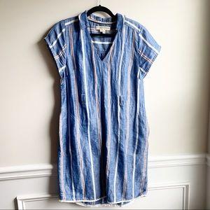 Anthropologie linen blue striped shirt dress sz 8